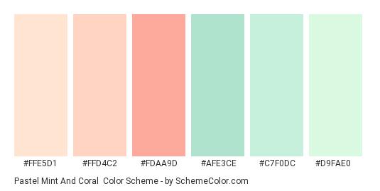 Pastel Mint and Coral - Color scheme palette thumbnail - #FFE5D1 #FFD4C2 #FDAA9D #AFE3CE #C7F0DC #D9FAE0