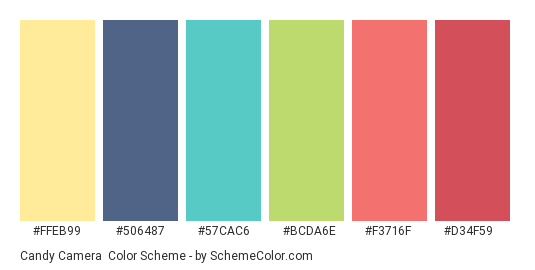 Candy Camera - Color scheme palette thumbnail - #FFEB99 #506487 #57CAC6 #BCDA6E #F3716F #D34F59