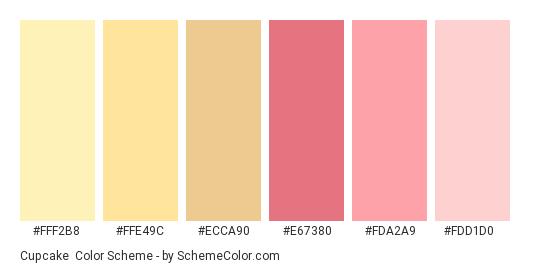 Cupcake - Color scheme palette thumbnail - #FFF2B8 #FFE49C #ECCA90 #E67380 #FDA2A9 #FDD1D0