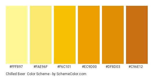 Chilled Beer - Color scheme palette thumbnail - #FFF897 #FAE96F #F6C101 #EC9D00 #DF8D03 #C96E12