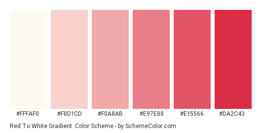 Red to White Gradient - Color scheme palette thumbnail - #FFFAF0 #F8D1CD #F0A8AB #E97E88 #E15566 #DA2C43