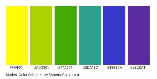 Mades - Color scheme palette thumbnail - #FFFF01 #ADD301 #44A901 #2DA18C #3838CA #5B2BA1