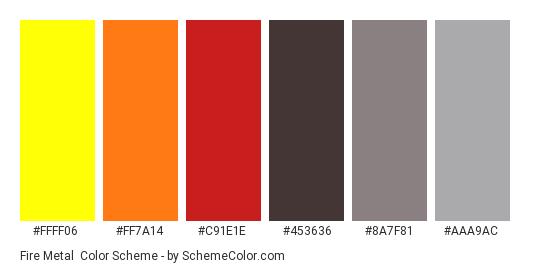 Fire Metal - Color scheme palette thumbnail - #FFFF06 #FF7A14 #C91E1E #453636 #8A7F81 #AAA9AC