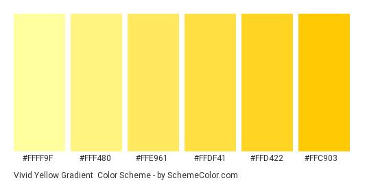 Vivid Yellow Gradient - Color scheme palette thumbnail - #FFFF9F #FFF480 #FFE961 #FFDF41 #FFD422 #FFC903