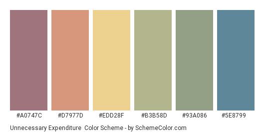 Unnecessary Expenditure - Color scheme palette thumbnail - #a0747c #d7977d #edd28f #b3b58d #93a086 #5e8799