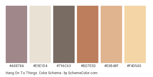 Hang on to Things - Color scheme palette thumbnail - #a0878a #e9e1d4 #796c63 #bd7e5d #e0b48f #f4d5a5