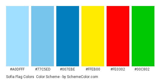 Sofia Flag Colors - Color scheme palette thumbnail - #a0dfff #77c5ed #007ebe #ffeb00 #fe0302 #00c802