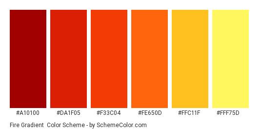 Fire Gradient - Color scheme palette thumbnail - #a10100 #da1f05 #f33c04 #fe650d #ffc11f #fff75d