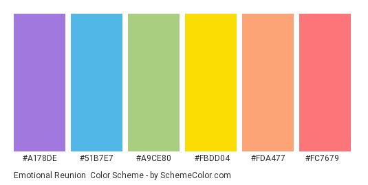 Emotional Reunion - Color scheme palette thumbnail - #a178de #51b7e7 #a9ce80 #fbdd04 #fda477 #fc7679