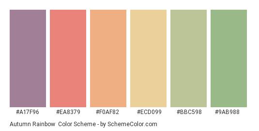 Autumn Rainbow - Color scheme palette thumbnail - #a17f96 #ea8379 #f0af82 #ecd099 #bbc598 #9ab988
