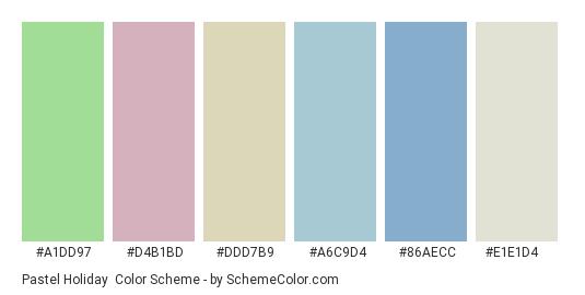 Pastel Holiday - Color scheme palette thumbnail - #a1dd97 #d4b1bd #ddd7b9 #a6c9d4 #86aecc #e1e1d4