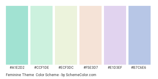 Feminine Theme - Color scheme palette thumbnail - #a1e2d2 #ccf1de #ecf3dc #f5e3d7 #e1d3ef #b7c6e6