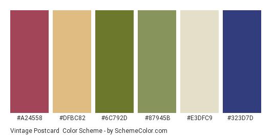 Vintage Postcard - Color scheme palette thumbnail - #a24558 #dfbc82 #6c792d #87945b #e3dfc9 #323d7d
