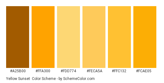 Yellow Sunset - Color scheme palette thumbnail - #a25b00 #ffa300 #fdd774 #feca5a #ffc132 #fcae05