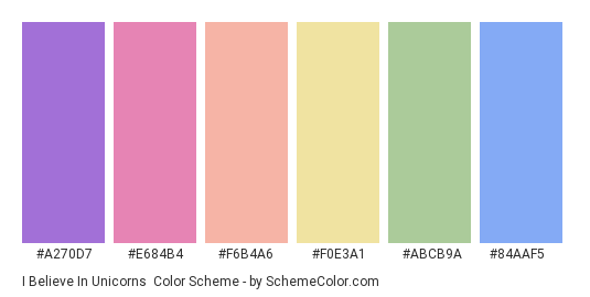I Believe in Unicorns - Color scheme palette thumbnail - #a270d7 #e684b4 #f6b4a6 #f0e3a1 #abcb9a #84aaf5