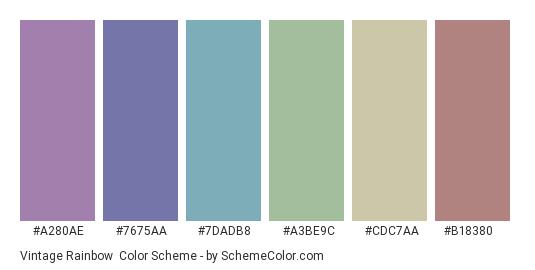Vintage Rainbow - Color scheme palette thumbnail - #a280ae #7675aa #7dadb8 #a3be9c #cdc7aa #b18380
