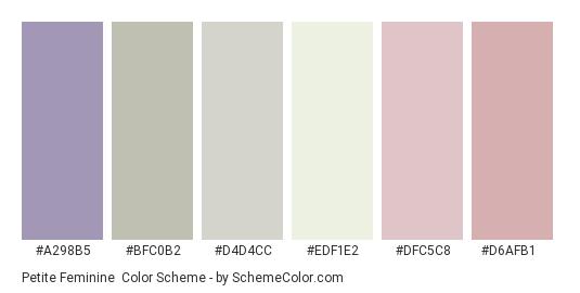 Petite Feminine - Color scheme palette thumbnail - #a298b5 #bfc0b2 #d4d4cc #edf1e2 #dfc5c8 #d6afb1