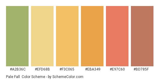 Pale Fall - Color scheme palette thumbnail - #a2b36c #efd68b #f3c065 #eba349 #e97c60 #bd785f