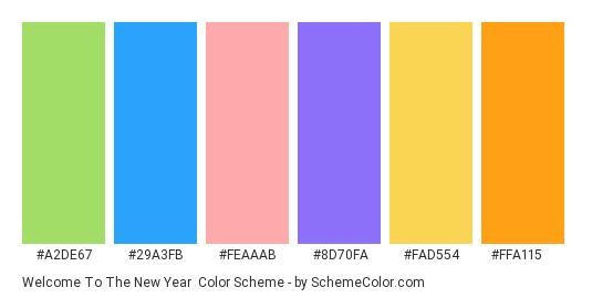 Welcome to the New Year - Color scheme palette thumbnail - #a2de67 #29a3fb #feaaab #8d70fa #fad554 #ffa115