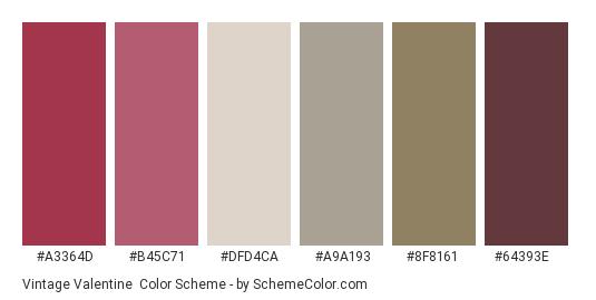 Vintage Valentine - Color scheme palette thumbnail - #a3364d #b45c71 #dfd4ca #a9a193 #8f8161 #64393e