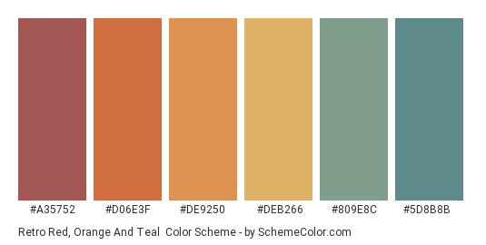 Retro Red, Orange and Teal - Color scheme palette thumbnail - #a35752 #d06e3f #DE9250 #DEB266 #809E8C #5D8B8B