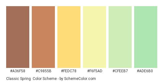 Classic Spring - Color scheme palette thumbnail - #a36f58 #c9855b #fedc78 #f6f5ad #cfeeb7 #ade6b0