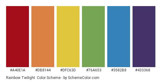 Rainbow Twilight - Color scheme palette thumbnail - #a40e1a #db8144 #dfc63d #76a653 #3582b8 #433368