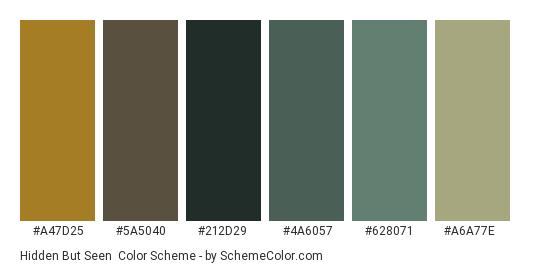 Hidden But Seen - Color scheme palette thumbnail - #a47d25 #5a5040 #212d29 #4a6057 #628071 #a6a77e