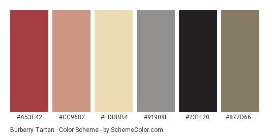 Burberry Tartan #1 (Bright) - Color scheme palette thumbnail - #a53e42 #cc9682 #eddbb4 #91908e #231f20 #877d66