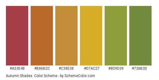 Autumn Shades - Color scheme palette thumbnail - #a53e48 #b86b2c #c38e38 #d7ac27 #8d9d39 #738b3d
