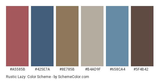 Rustic Lazy - Color scheme palette thumbnail - #a5585b #425e7a #8e785b #b4ad9f #658ca4 #5f4b42