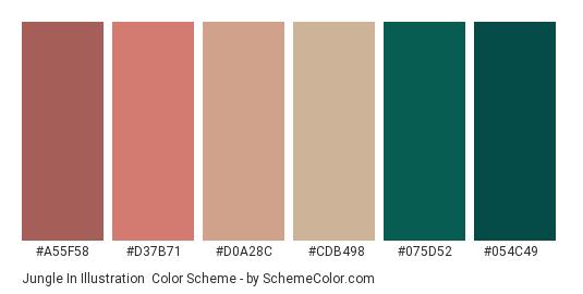 Jungle in Illustration - Color scheme palette thumbnail - #a55f58 #d37b71 #d0a28c #cdb498 #075d52 #054c49