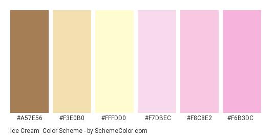 Ice Cream - Color scheme palette thumbnail - #a57e56 #f3e0b0 #fffdd0 #f7dbec #f8c8e2 #f6b3dc