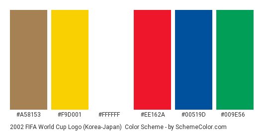 2002 FIFA World Cup Logo (Korea-Japan) - Color scheme palette thumbnail - #a58153 #f9d001 #ffffff #ee162a #00519d #009e56