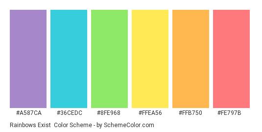 Rainbows Exist - Color scheme palette thumbnail - #a587ca #36cedc #8fe968 #ffea56 #ffb750 #fe797b