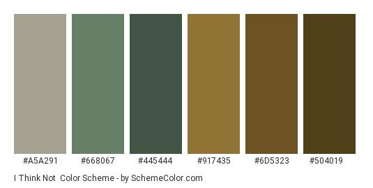 I Think Not - Color scheme palette thumbnail - #a5a291 #668067 #445444 #917435 #6d5323 #504019