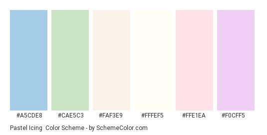 Pastel Icing - Color scheme palette thumbnail - #a5cde8 #cae5c3 #faf3e9 #fffef5 #ffe1ea #f0cff5