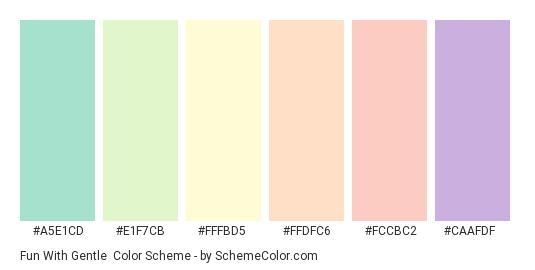 Fun with Gentle - Color scheme palette thumbnail - #a5e1cd #e1f7cb #fffbd5 #ffdfc6 #fccbc2 #caafdf