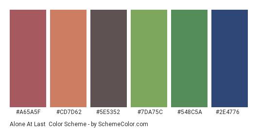 Alone At Last - Color scheme palette thumbnail - #a65a5f #cd7d62 #5e5352 #7da75c #548c5a #2e4776