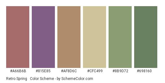 Retro Spring #2 - Color scheme palette thumbnail - #a66b6b #815e85 #af8d6c #cfc499 #8b9d72 #698160