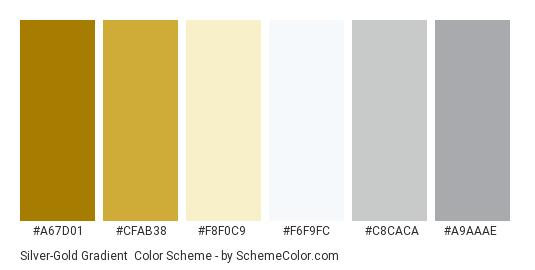 Silver-Gold Gradient - Color scheme palette thumbnail - #a67d01 #cfab38 #f8f0c9 #f6f9fc #c8caca #a9aaae