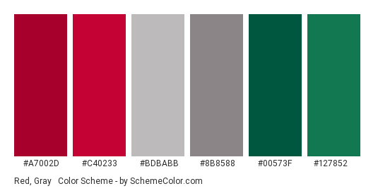 Red, Gray & Green - Color scheme palette thumbnail - #a7002d #c40233 #bdbabb #8b8588 #00573f #127852