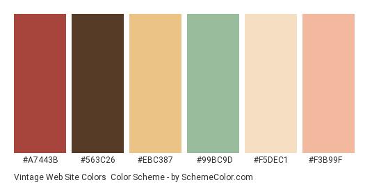 Vintage Web Site Colors - Color scheme palette thumbnail - #a7443b #563c26 #ebc387 #99bc9d #f5dec1 #f3b99f