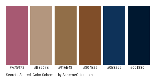 Secrets Shared - Color scheme palette thumbnail - #a75972 #b3967e #916e48 #804e29 #0e3259 #001830
