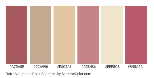 Retro Valentine - Color scheme palette thumbnail - #a75a5e #c2a990 #e3c5a1 #c58486 #eee5cb #b95a6c