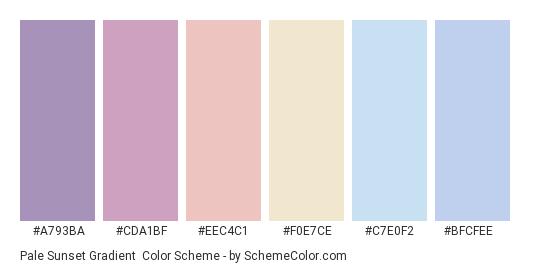 Pale Sunset Gradient - Color scheme palette thumbnail - #a793ba #cda1bf #eec4c1 #f0e7ce #c7e0f2 #bfcfee