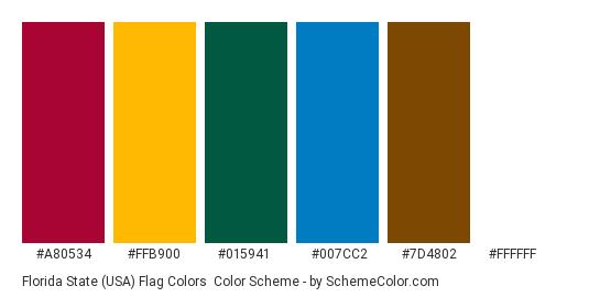 Florida State (USA) Flag Colors - Color scheme palette thumbnail - #a80534 #ffb900 #015941 #007cc2 #7d4802 #ffffff