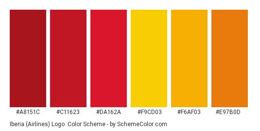 Iberia (Airlines) Logo - Color scheme palette thumbnail - #a8151c #c11623 #da162a #f9cd03 #f6af03 #e97b0d