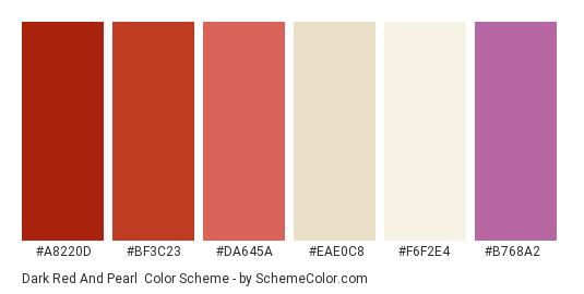Dark Red and Pearl - Color scheme palette thumbnail - #a8220d #bf3c23 #da645a #eae0c8 #f6f2e4 #b768a2