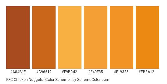 KFC Chicken Nuggets - Color scheme palette thumbnail - #a84b1e #c96619 #f9b042 #f49f35 #f19325 #eb8a12